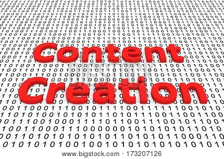 content creation in the form of binary code, 3D illustration
