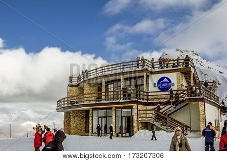 Sochi.Russia.Jan 6 2011.Cafe on the mountain top in Sochi Krasnaya Polyana on the background of beautiful mountain scenery
