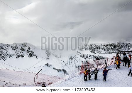 Sochi.Russia.Jan 6 2011.Mountain peak in Sochi Krasnaya Polyana on the background of beautiful mountain scenery