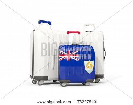 Luggage With Flag Of Anguilla. Three Bags Isolated On White