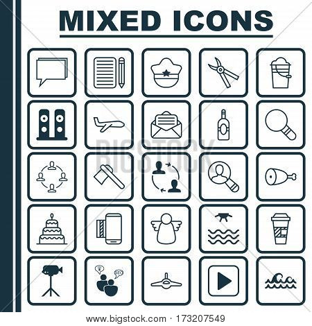 Set Of 25 Universal Editable Icons. Can Be Used For Web, Mobile And App Design. Includes Elements Such As Collaboration, Pliers, Pilot Hat And More.