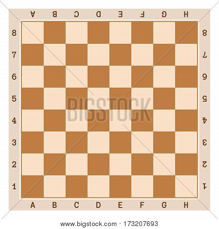 Simple wooden chess board with letters and numbers.