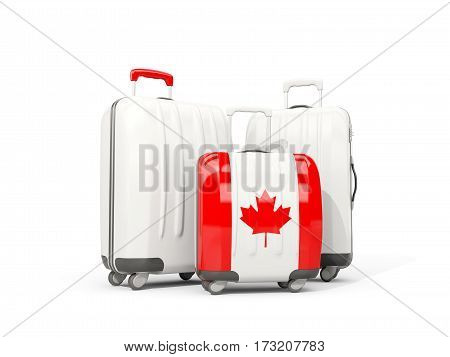 Luggage With Flag Of Canada. Three Bags Isolated On White