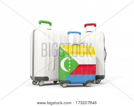 Luggage With Flag Of Comoros. Three Bags Isolated On White