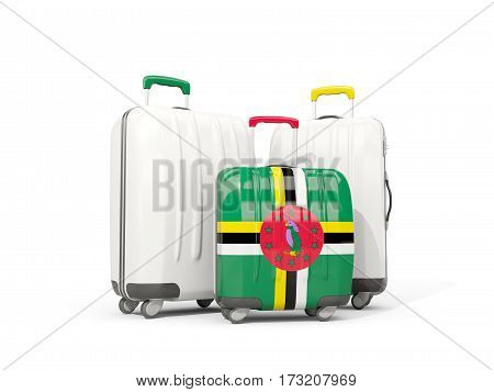 Luggage With Flag Of Dominica. Three Bags Isolated On White