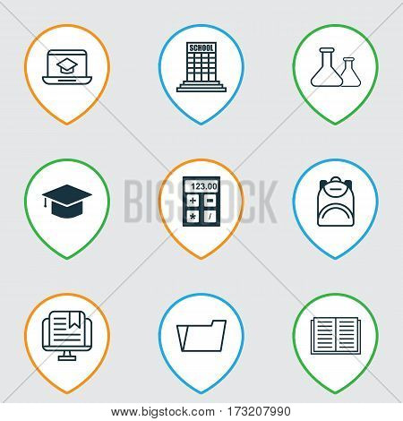 Set Of 9 Education Icons. Includes Academy, Haversack, Document Case And Other Symbols. Beautiful Design Elements.