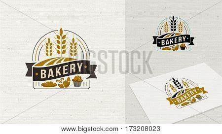 Logo Bakery badge and icon. Modern style vector. Retro bakery label. Bakery badge design element easy editable for Your design.