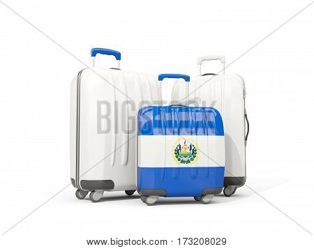 Luggage With Flag Of El Salvador. Three Bags Isolated On White