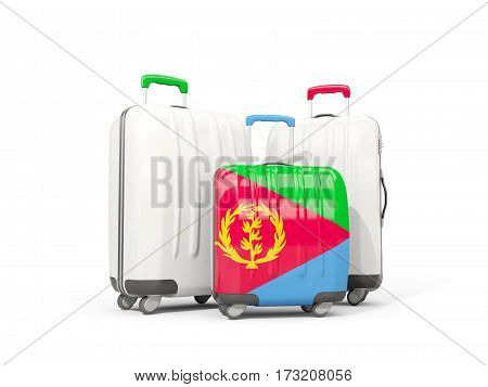 Luggage With Flag Of Eritrea. Three Bags Isolated On White
