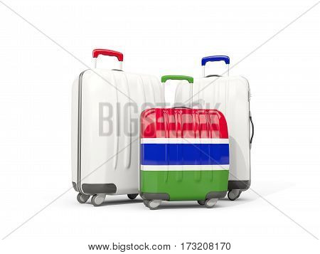 Luggage With Flag Of Gambia. Three Bags Isolated On White
