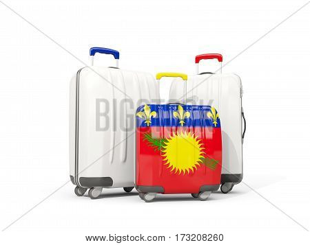 Luggage With Flag Of Guadeloupe. Three Bags Isolated On White