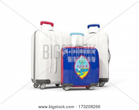 Luggage With Flag Of Guam. Three Bags Isolated On White