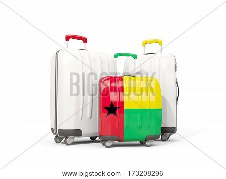 Luggage With Flag Of Guinea Bissau. Three Bags Isolated On White