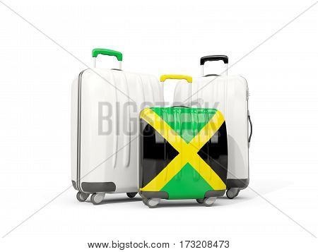 Luggage With Flag Of Jamaica. Three Bags Isolated On White