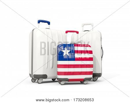 Luggage With Flag Of Liberia. Three Bags Isolated On White