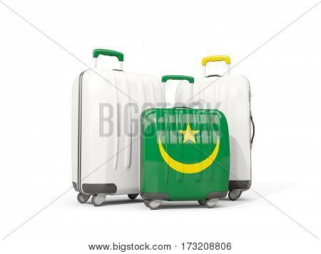 Luggage With Flag Of Mauritania. Three Bags Isolated On White