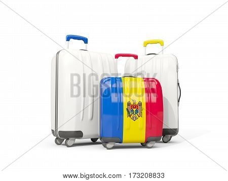 Luggage With Flag Of Moldova. Three Bags Isolated On White