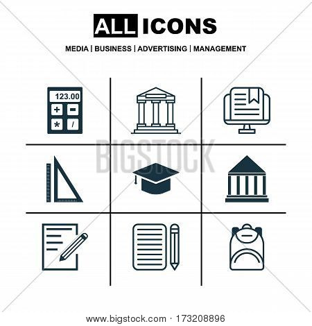 Set Of 9 Education Icons. Includes Haversack, Home Work, E-Study And Other Symbols. Beautiful Design Elements.