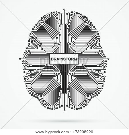 Brain. Brainstorming, power thinking technology on white background.