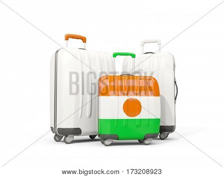 Luggage With Flag Of Niger. Three Bags Isolated On White