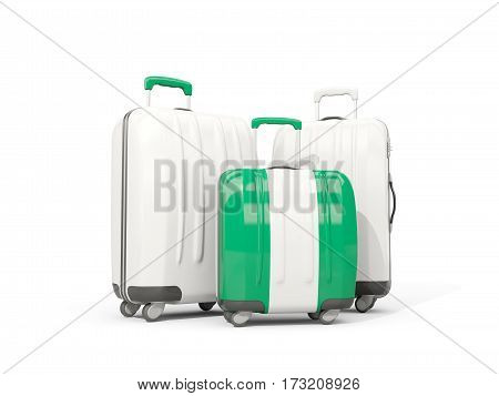 Luggage With Flag Of Nigeria. Three Bags Isolated On White