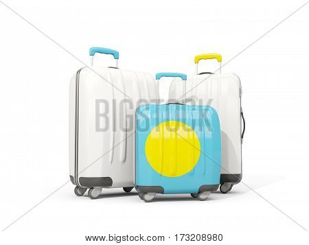 Luggage With Flag Of Palau. Three Bags Isolated On White
