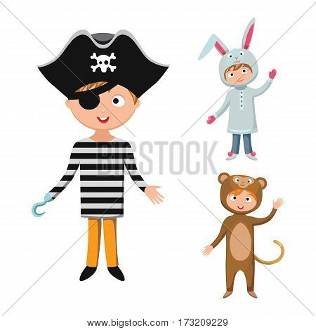 Kids different costumes isolated vector illustration. Playful character spooky baby superhero bear, rabbit and pirate. Children party funny clothes.