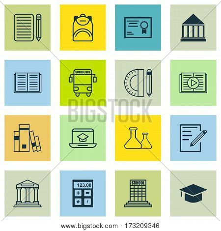 Set Of 16 School Icons. Includes Haversack, Library, Home Work And Other Symbols. Beautiful Design Elements.