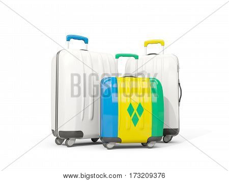 Luggage With Flag Of Saint Vincent And The Grenadines. Three Bags Isolated On White