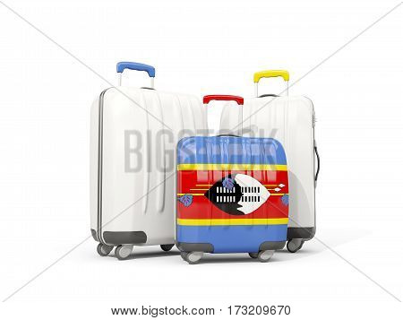 Luggage With Flag Of Swaziland. Three Bags Isolated On White