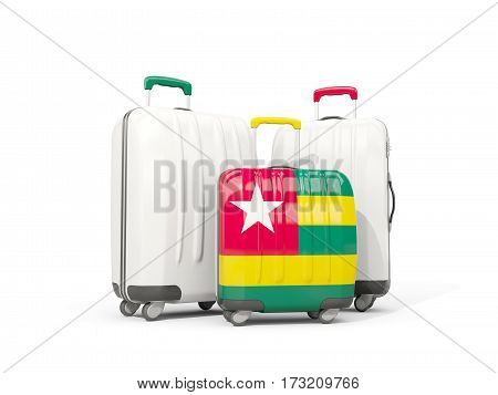 Luggage With Flag Of Togo. Three Bags Isolated On White