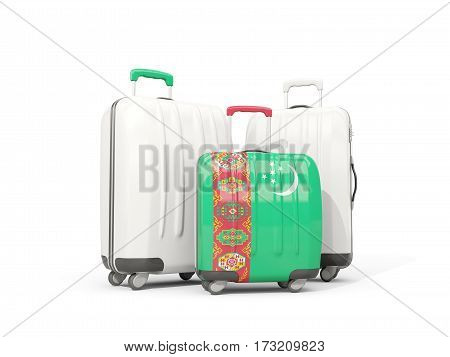 Luggage With Flag Of Turkmenistan. Three Bags Isolated On White
