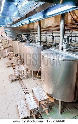 Shop brewery. Boilers for boiling wort. Wort boiling is the first step of brewing.
