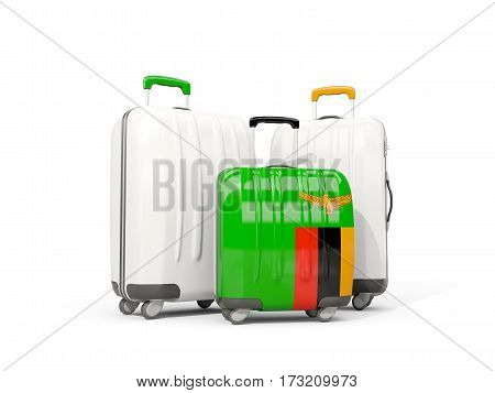Luggage With Flag Of Zambia. Three Bags Isolated On White