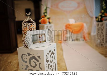 Element Of Decoration At Wedding Path Of Arch With Foto Frame And Flowers.