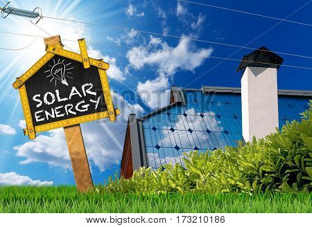 Close-up of a house roof with a solar panel power line and a sign with text Solar Energy On a blue sky with clouds and sun rays