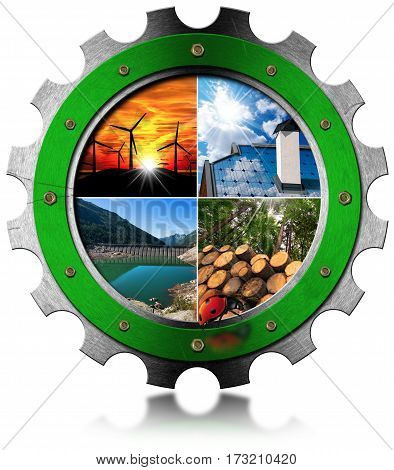 Renewable Energy Concept - 3D illustration of a metal gear with four photos of sustainable energies. Wind solar biomass and hydroelectric energy