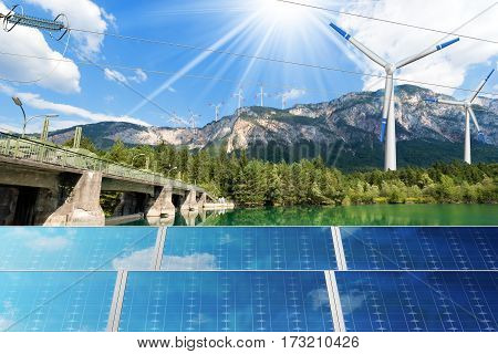 Renewable Energy - Sunlight with solar panel. Wind with wind turbines (3d illustration). Water with dam for hydropower