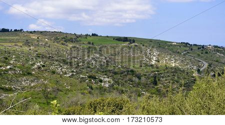 Abandoned Terraced Fields above Kritou Tera Village Paphos Cyprus