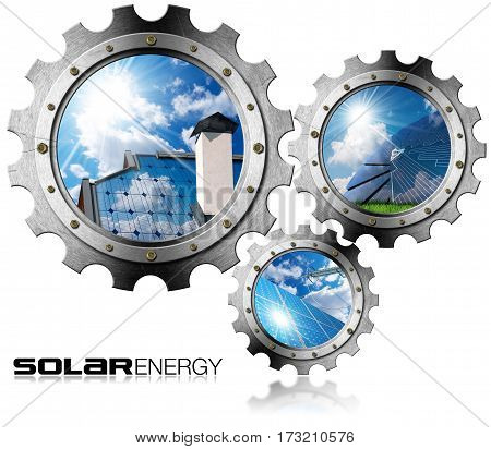 Solar Energy - Three metal gears (3D illustration) with solar panels blue sky clouds and sun rays (photos). Isolated on white background