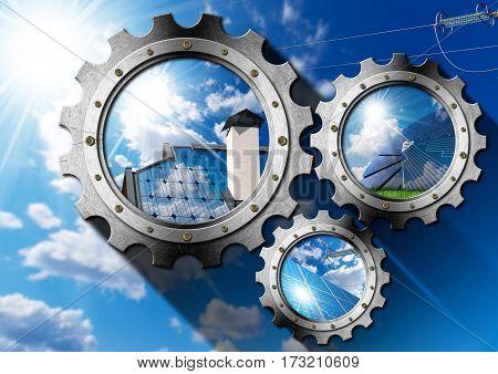 Solar Energy - Three metal gears (3D illustration) with solar panels blue sky clouds and sun rays (photos)