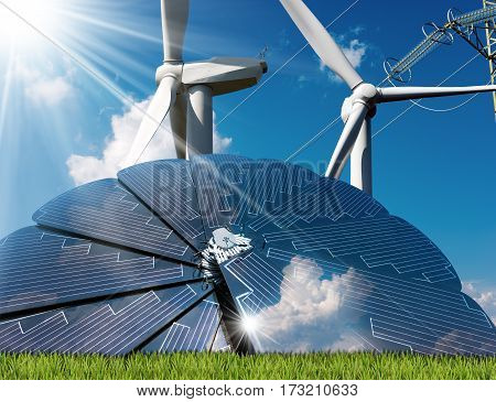 Solar panel with a two wind turbines and a power line on a blue sky with clouds and sun rays. Solar and wind energy