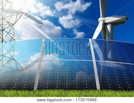 Group of solar panels with a wind turbine and a power line on a blue sky with clouds and sun rays. Solar and wind energy