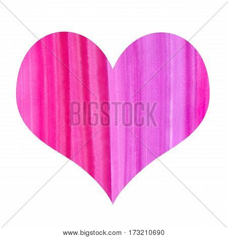 Abstract heart symbol with watercolor pattern isolated on white background