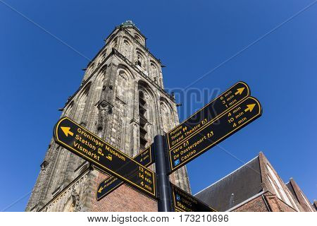 Tourist sign in front of the Martini church in Groningen Holland
