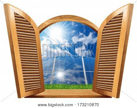 Wooden window with open shutters (3d illustration) with a group of solar panels blue sky clouds and sun rays inside (photo). Concept of residential solar energy