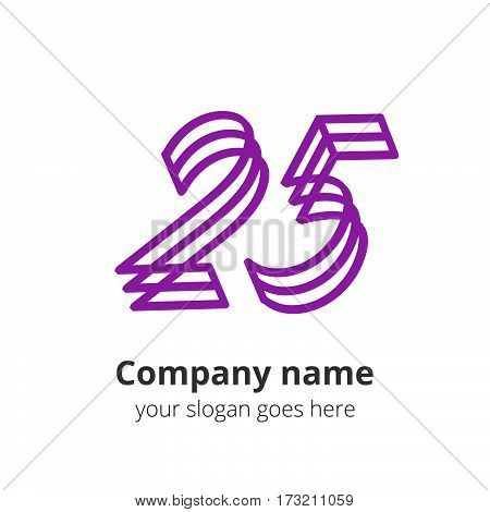 25 purple logo concept. Number twenty five, 2 and 5 logo icon.