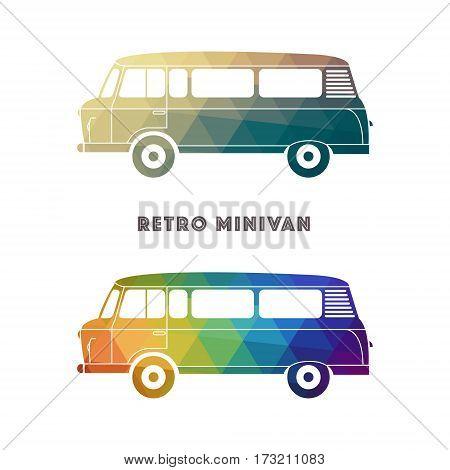 Retro colorful minivan. Classic vintage hippie van. Vector illustration.