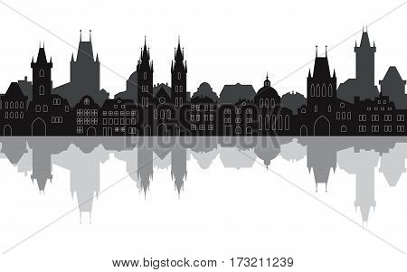 Prague seamless cityscape. Old town with reflection in the water. Vector illustration of historic european city street. Travel background.