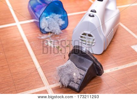 Vacuum Cleaner Full Of Dust And Hair Clots